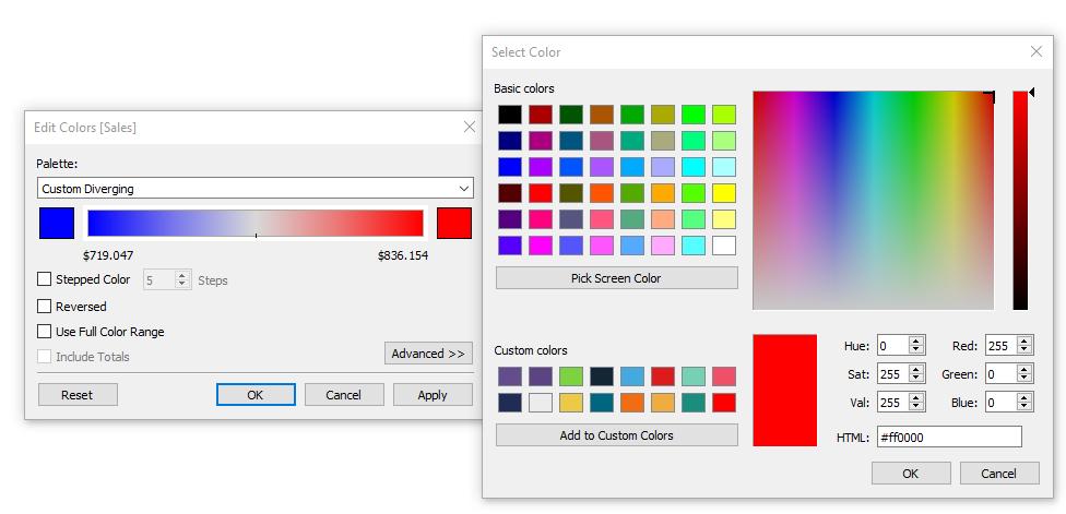 palette di colori in tableau