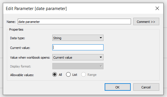 custom date filters tableau